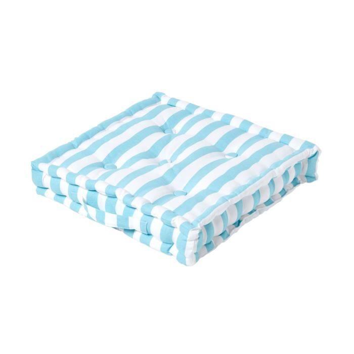 Coussin de sol Bleu - Grandes Rayures - 40 x 40 cm
