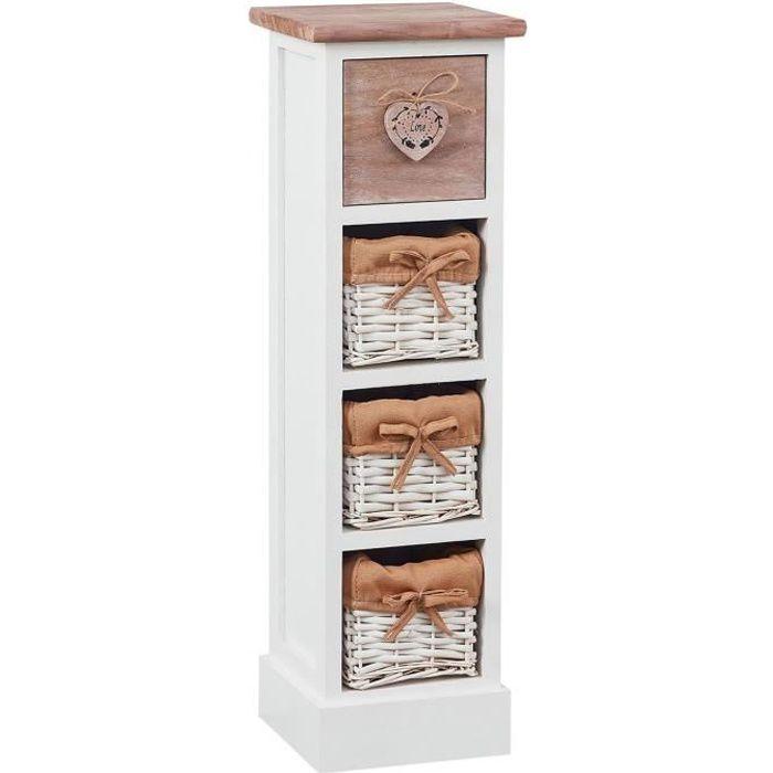 Chiffonnier FLOWER petit meuble avec 1 tiroir et 3 paniers étagère en bois de paulownia blanc et brun style shabby chic