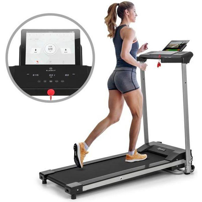 Klarfit Treado Active Tapis de course cardio training - Vitesse 10 km-h max. - 12 programmes - Contrôle par app - Ecran tactile -