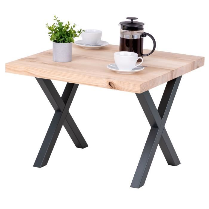 LAMO MANUFAKTUR Table basse industrielle - bois massif - salon - 60x60x47cm - frêne sévère - pieds métal gris - modèle design