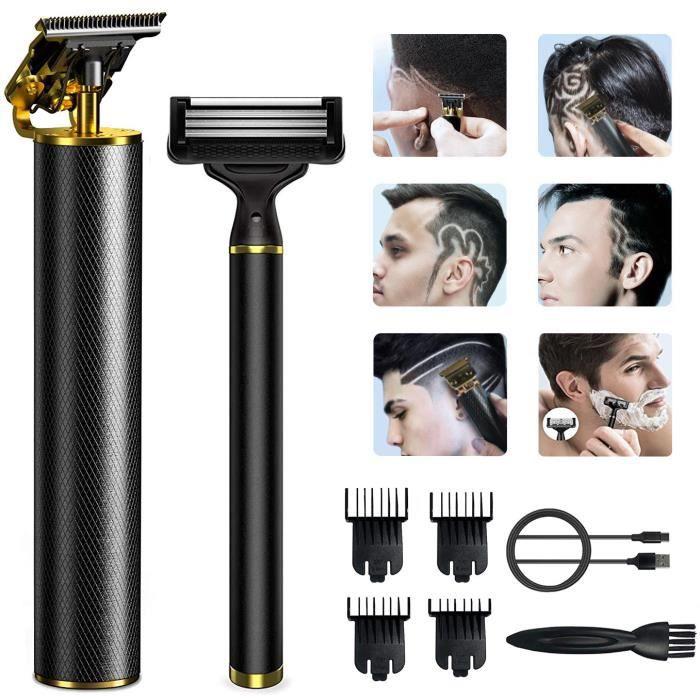 Tondeuse Cheveux et Barbe Professionnelle a 0 mm Homme Sans fil tondeuse barbe cadeau homme avec Rasoir manuel et 4 Peigne guide
