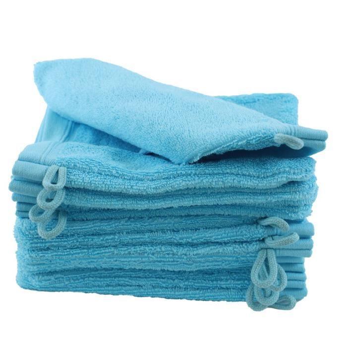 LINANDELLE - Lot de 12 gants de toilette coton bouclette unis FLEUR - Bleu turquoise