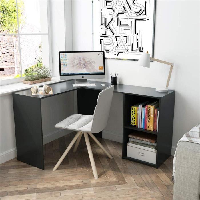 Bureau d'angle avec Rangement 2 Étagères, bureau informatique, bureau d'ordinateur, Bois, Noir-Mondeer