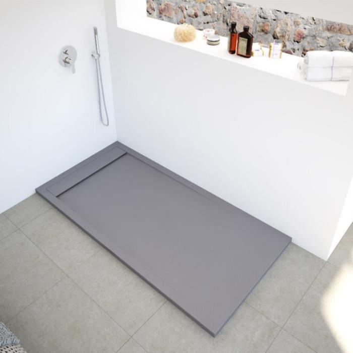 Receveur de douche extra-plat en résine et fibre de verre - NEW YORK 80 x 100 cm Gris