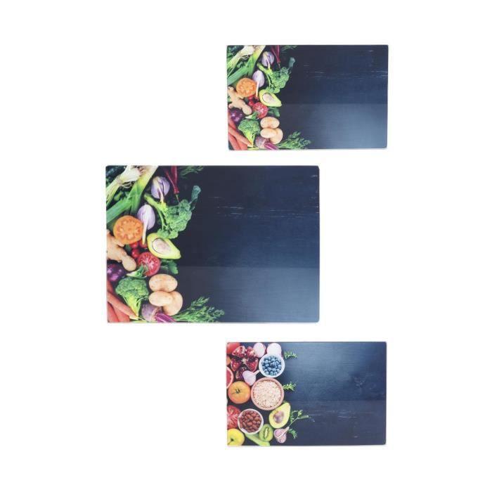Secret de Gourmet - Lot de 3 planches à découper en verre 30 x 40 cm et 30 x 20 cm decor légumes et healthy Légumes