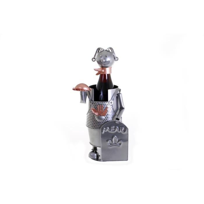 Porte bouteille design serveur Forgeron 15 x 15 x 26 cm Gris