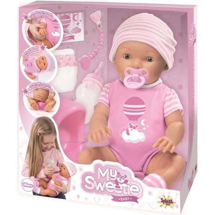 SPLASH-TOYS Poupée - Poupon avec ses accessoires My sweetie baby - Rose