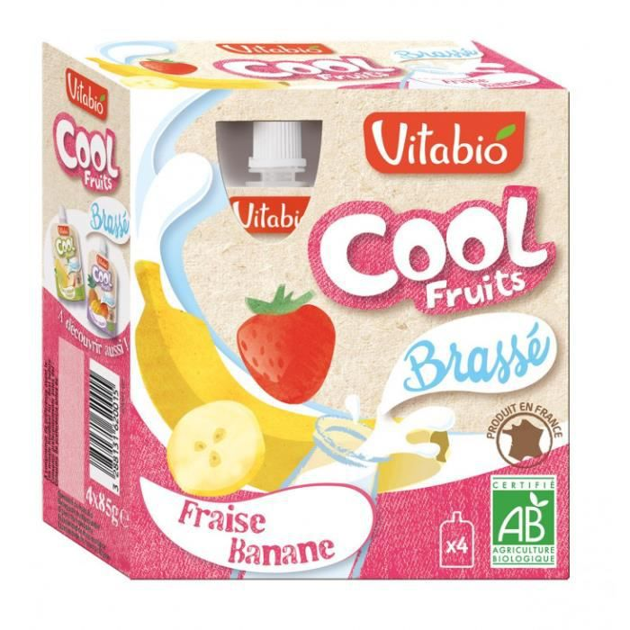 Cool brassé 4x85gr fraiseraise, banane au lait 340gr - Vitabio