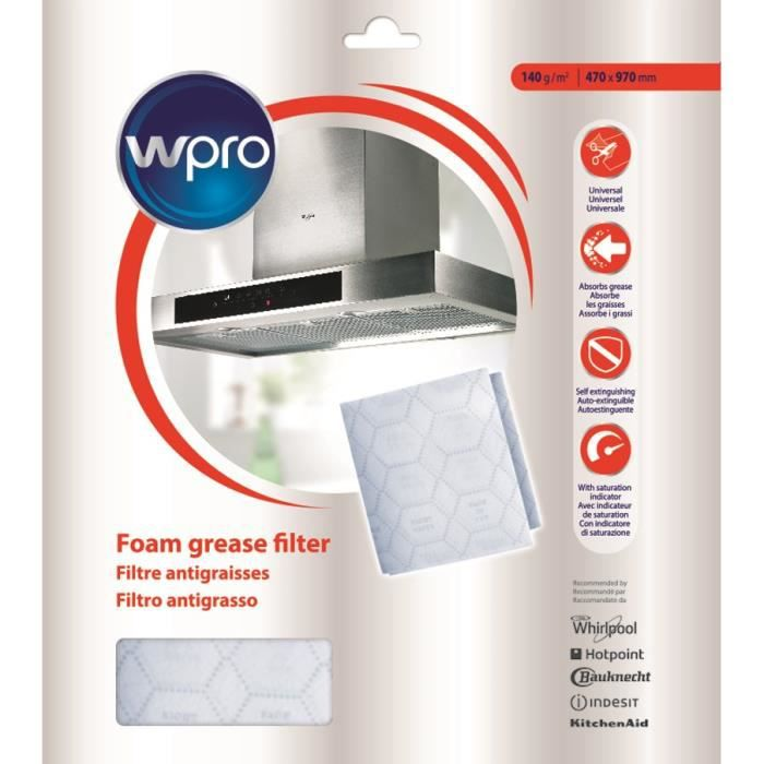 WPRO UGF015 - Filtre hotte avec indicateur de saturation