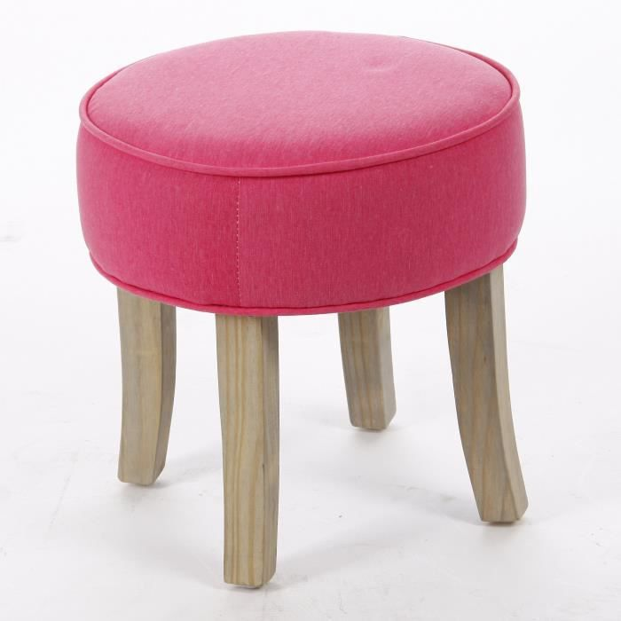 tabouret pouf rond lin et coton coloris rose achat vente tabouret rose cdiscount. Black Bedroom Furniture Sets. Home Design Ideas