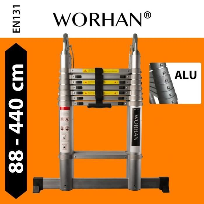 WORHAN/® Echelle 4.1m T/élescopique PRO Aluminium Anodis/é Solide Extensible Avec une Barre Stabilisatrice 1K4.1