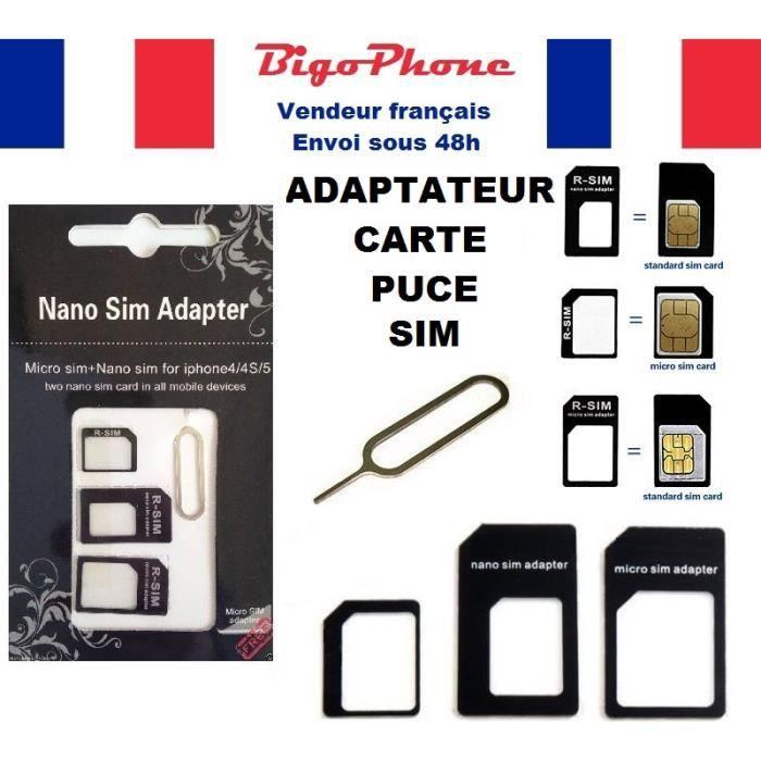 Adaptateur 4en1 Carte Puce Micro Sim Nano Sim Achat Adaptateur Carte Sim Pas Cher Avis Et Meilleur Prix Cdiscount