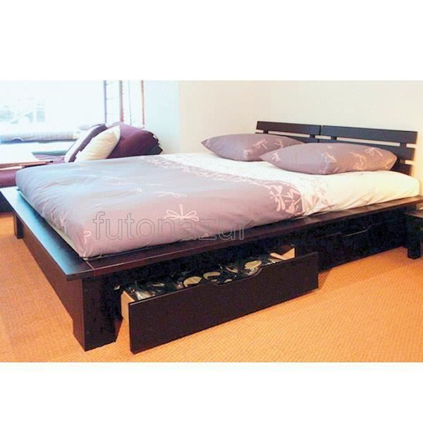 lit soro podium 2 tiroirs weng 160 futon 160 15cm achat. Black Bedroom Furniture Sets. Home Design Ideas