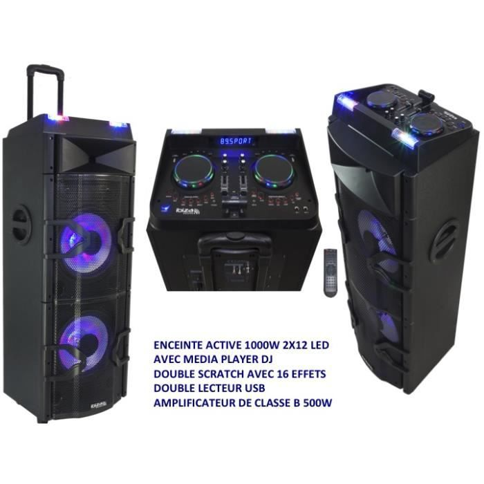 "PACK SONO ECEINTE ACTIVE 2X12"" 1000W AVEC MEDIA PLAYER DJ DO"