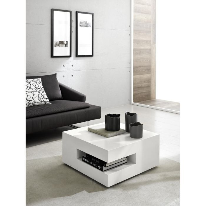 table basse design square laque blanc deco achat vente table basse table basse design. Black Bedroom Furniture Sets. Home Design Ideas