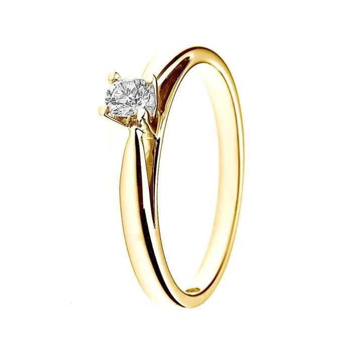 DIAMOND LANE Bague Solitaire Or Jaune 750° et Diamant 0,15 cts Femme