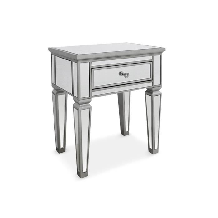 Table de chevet miroirs et tiroir argent shine achat for Table de chevet bebe