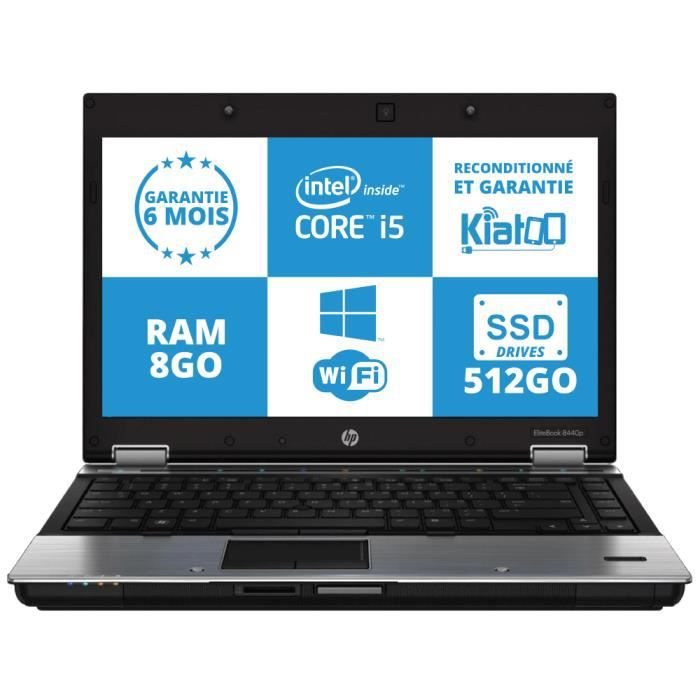 ordinateur portable hp elitebook 8440 core i5 8go ram 510go disque dur ssd drive wifi garantie 6. Black Bedroom Furniture Sets. Home Design Ideas