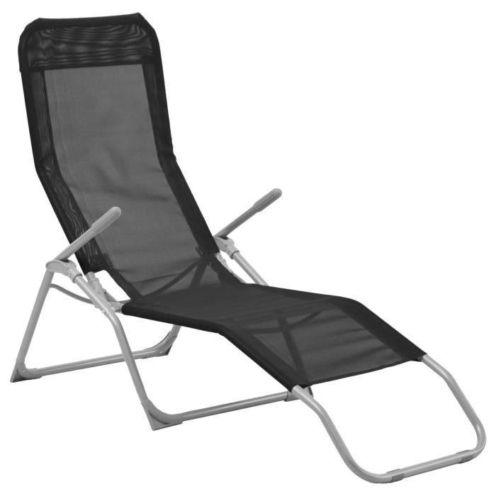 Transat en texaline SIESTA Noir - Achat / Vente chaise ...