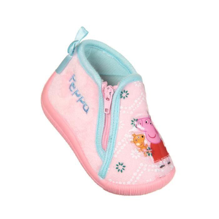 Filles Peppa Pig Rose Pantoufles-Touch de fermeture pour Ajustement Sécurisé