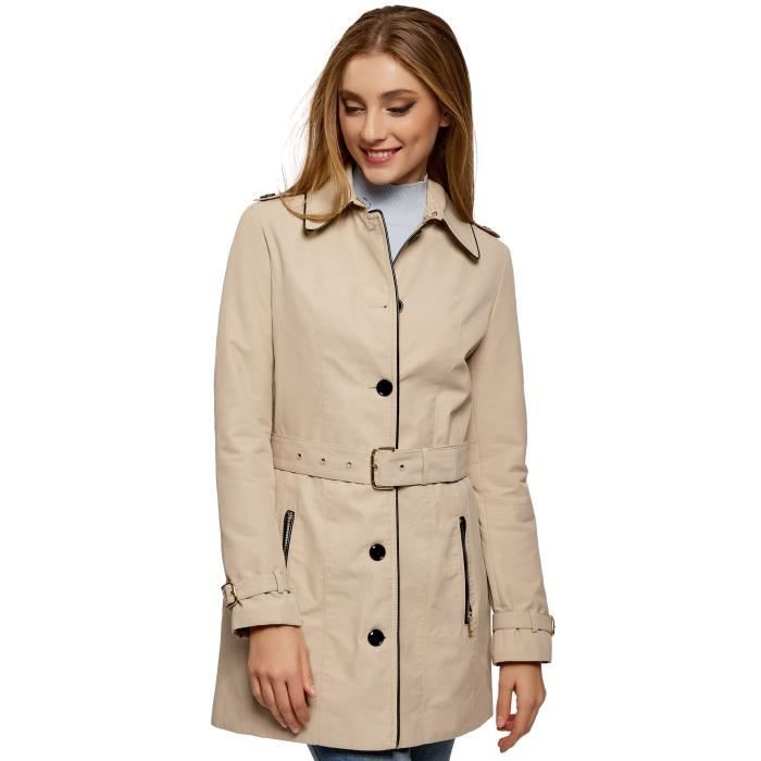 GILET - CARDIGAN Women's Single-breasted Trench Coat With Faux Leat