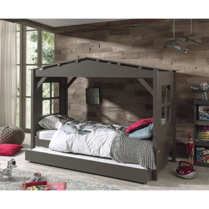 pino lit enfant cabane et lit gigogne 90x200 taupe. Black Bedroom Furniture Sets. Home Design Ideas