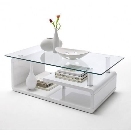 table basse blanche laqu design plateau en verre achat. Black Bedroom Furniture Sets. Home Design Ideas