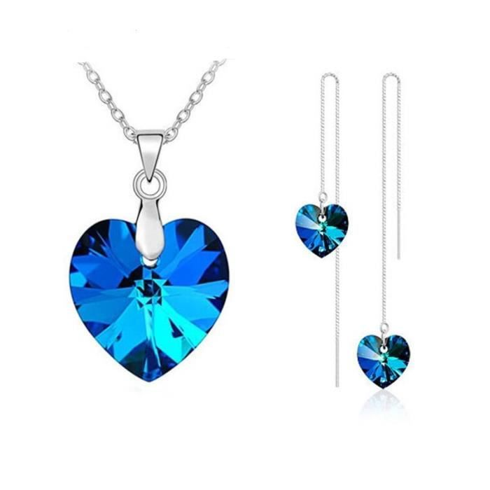 Parure Bijoux Coeur Cristal Swarovski* Bleu Argent 925