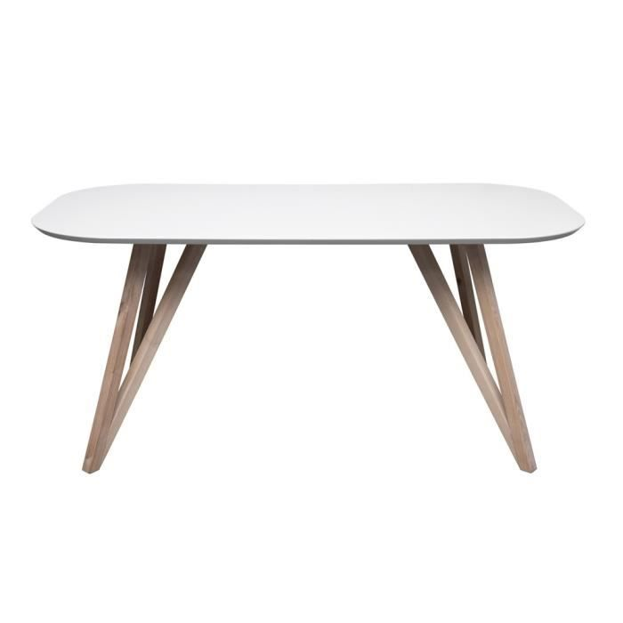 Table swithome jorgen laqu blanc naturel achat vente - Table sejour blanc laque ...