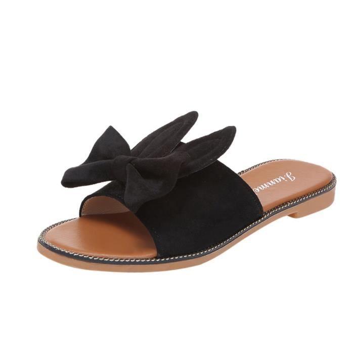 Femmes Mode Bow solide talon bas fond plat Sandales Slipper Chaussures de plage  Noir