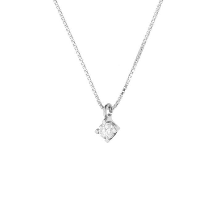 DIAMOND LANE Collier Solitaire Or Blanc 750° et Diamants 0,15 cts Femme