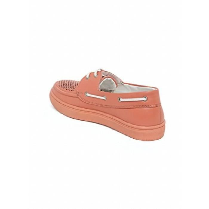 Women's Pink Faux Leather Sneakers X4HT8 Taille-36