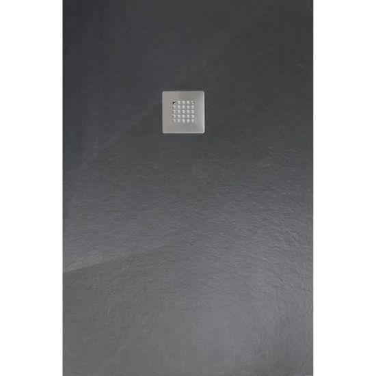 Mitola Receveur De Douche Rectangulaire à Poser Liwa 160 X 90 Cm Résine Composite Gris Anthracite