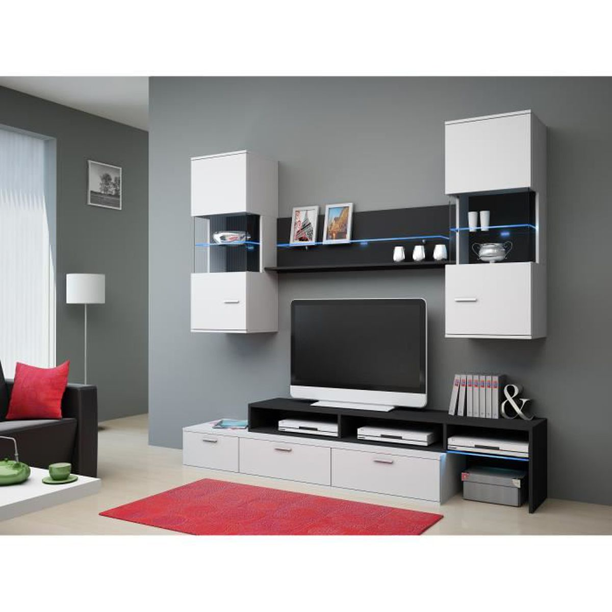 ensemble de meuble tv moderne design domingo achat vente living meuble tv ensemble de. Black Bedroom Furniture Sets. Home Design Ideas