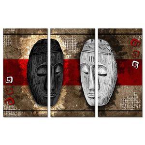 TABLEAU - TOILE Tableau Déco Triptyque Duo Masques Afrique - 120x8