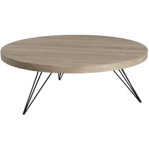 melbourne table basse ronde scandinave en mdf placage ch ne verni et m tal noir 90x90 cm. Black Bedroom Furniture Sets. Home Design Ideas