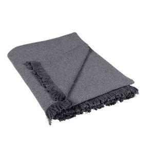 Tricot gris argent noué frange throw blanket 130CM x 170CM