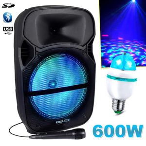 PACK SONO Enceinte Karaoké 600W Sono DJ PA Mobile à LEDs RVB