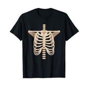 T-SHIRT Costume Squelette d'Os T-shirt d'Halloween à Cage