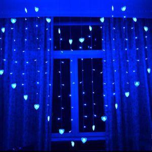 GUIRLANDE LUMINEUSE INT 2 x 1.5 m LED coeur en forme de rideau lumière de