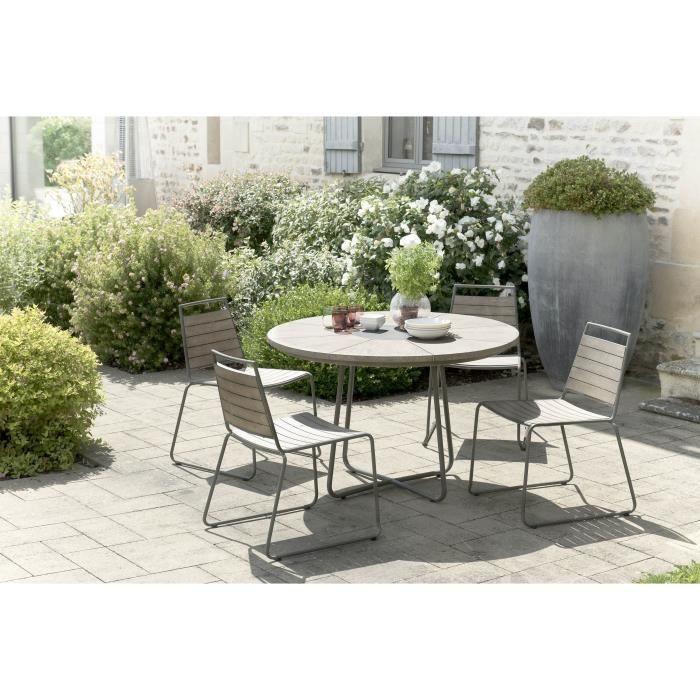 Ensemble de jardin en teck : 1 table à manger ronde - 2 lots de 2 chaises empilables en teck et métal JARDITECK