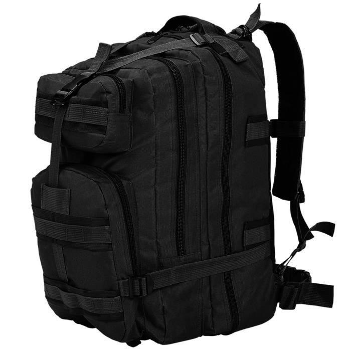 XIA Sac à dos en style militaire 50 L Noir