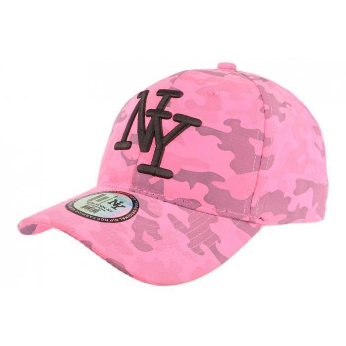 Casquette NY Militaire Rose Fluo et Noire Fashion Baseball Kaska - Taille unique - Rose