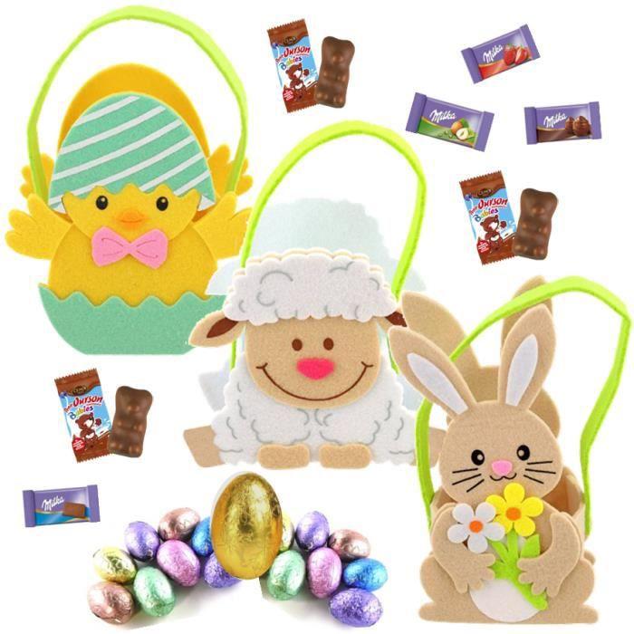 3 paniers feutrine garnis de 20 chocolats Kinder mini bueno et schokobons, Oursons guimauves Cémoi, oeufs et mini sujets de Pâques