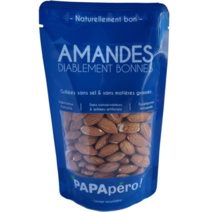 Amandes diablement bonnes - Grillées sans sel & sans matières grasses - 100gr - PAPApéro !