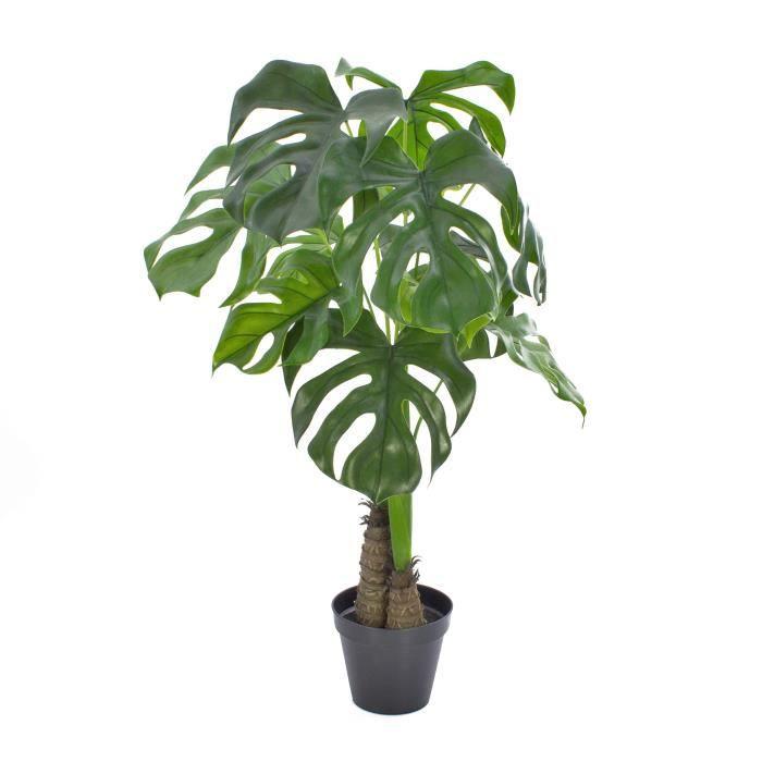 Lot 2 x Plante de type Philodendron (Monstera Deliciosa), 12 feuilles, pot décorative, vert, 90cm, résistant aux intempéries
