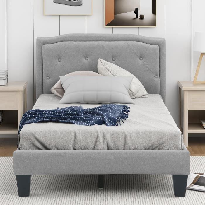 Lit simple pour adulte ou enfant avec sommier 90x200 cm 1 place, tête de lit capitonnés avec strass, lin gris - ModernLuxe