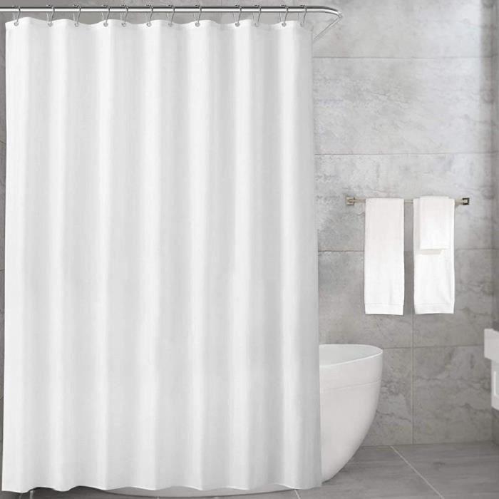 Rideau de Douche, Blanc en Tissu Impermeable et Anti-moisissure, Lavable en Machine, 12 Crochets , 180x200cm