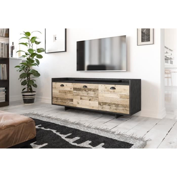 3xeLiving Élégant meuble TV Fulgures, 140 cm graphite matera / oldwood