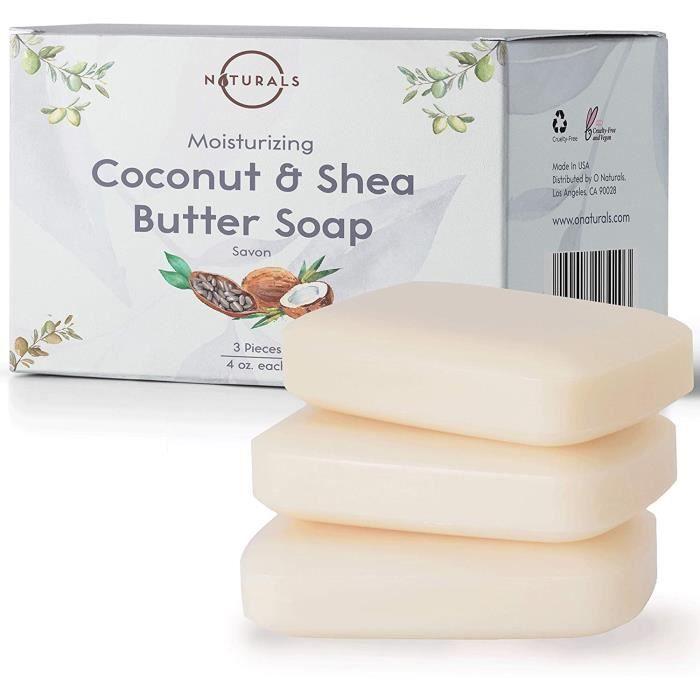 O Naturals Savon Coco et Beurre de Karite Pur Hydratant Pour Peau Seche Traitement Naturel de l'Eczéma. Savon Eclaircissant Peau Net